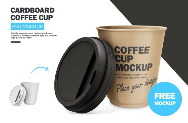 Cardboard Coffee Cup PSD Mockup