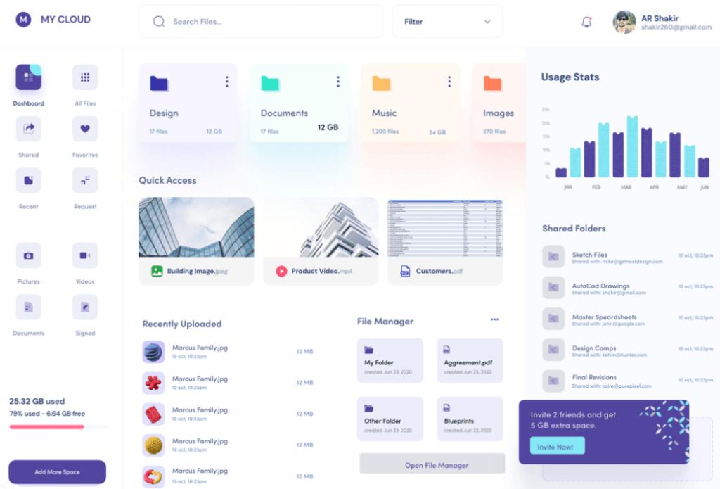 Free Dashboard UI For Cloud File Storage