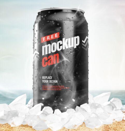 Free Ice Can PSD Mockup