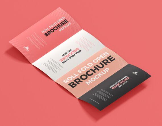 Free Roll Fold Open Brochure Mockup