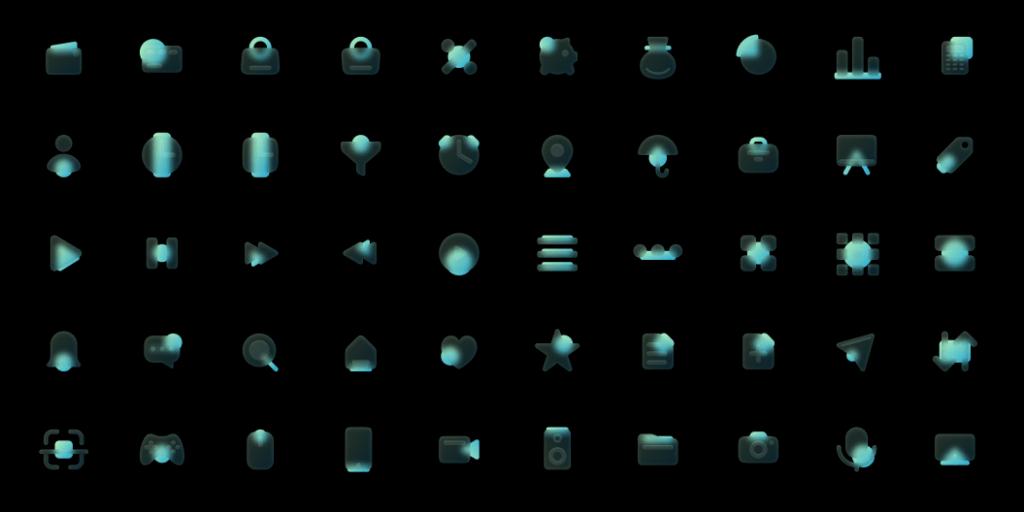 100 Glassmorphism Style Icons Green