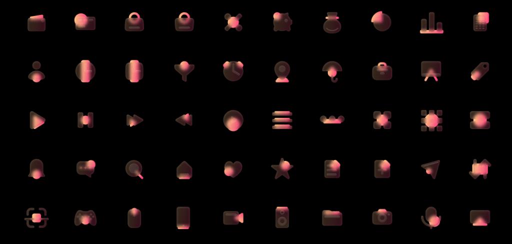 100 Glassmorphism Style Icons Orange