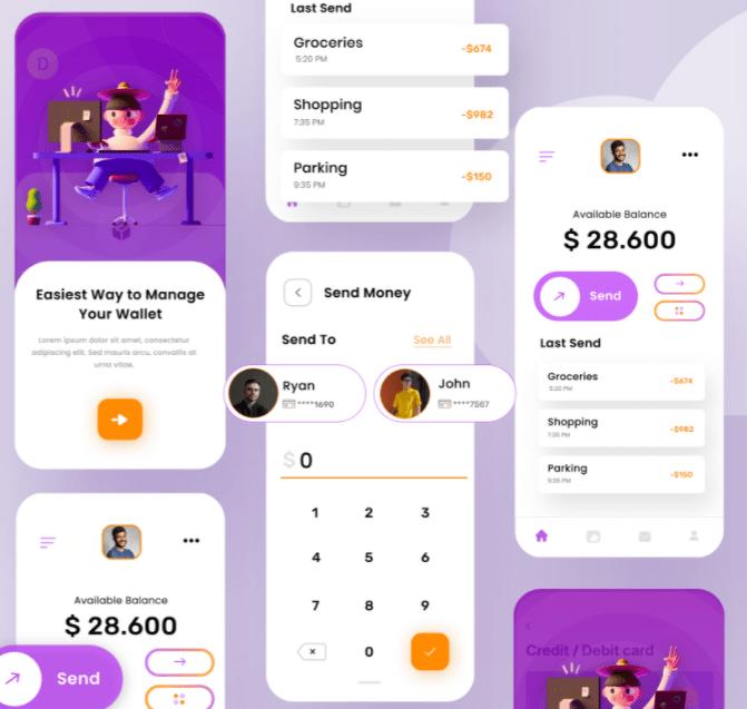 Free E-Wallet Concept UI Kit