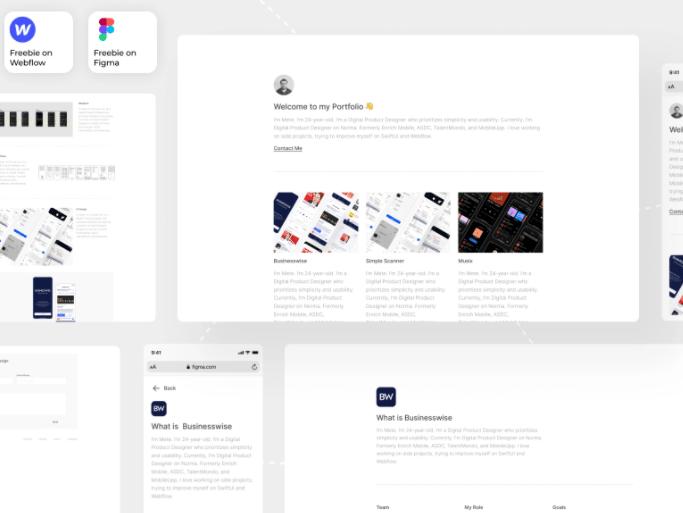 Freebie Portfolio Template on Figma and Webflow