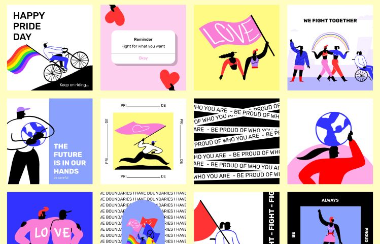 Pride Social Media Templates with Illustrations