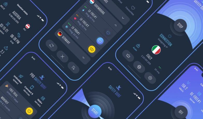 VPN App Dark UI Free Figma