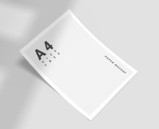 Free A4 Size Paper Mockup PSD
