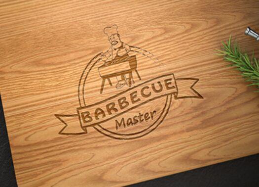 Logo Mockup On Modern Cutting Board