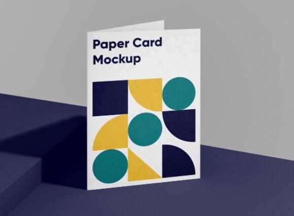 Folded A4 Paper Card Mockup