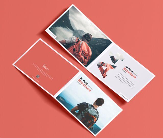 Free A4 Bi-Fold Horizontal Brochure Mockup
