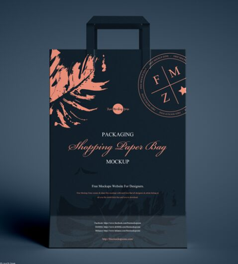 Free Packaging Shopping Paper Bag Mockup