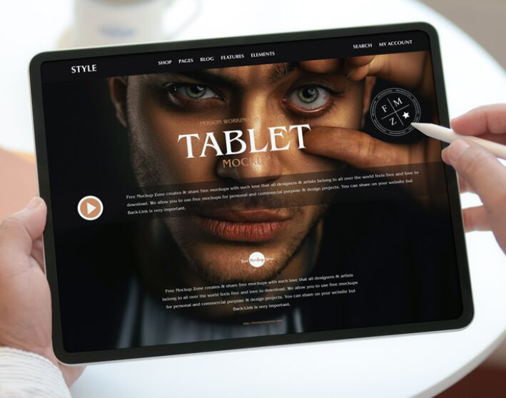 Free Person Working on Modern Tablet Mockup