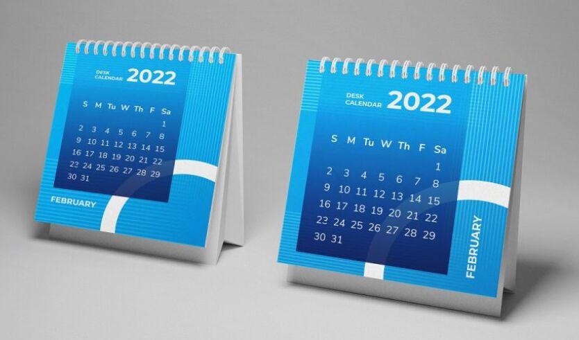 Free Desk Calendar 2022 Mockup