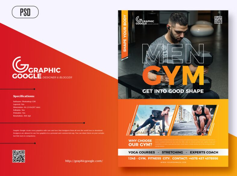 Free Modern Gym Fitness Flyer Template