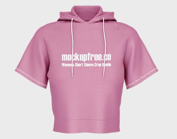 Free Women's Short Sleeve Crop Hoodie Mockup