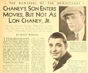 Lon CHaney Jr. news clipping