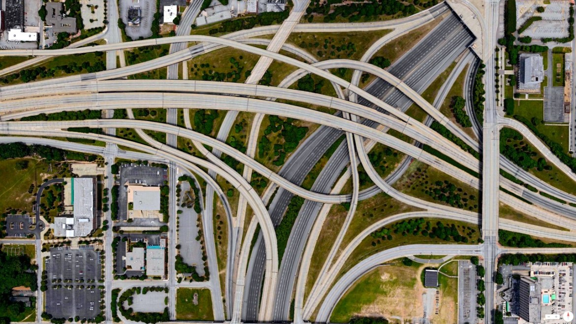 Spaghetti Junction (I-20 and I-85/I-75) Atlanta, Georgia, USA 33°44′7″N 84°23′22″W