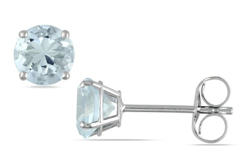 zsazsasitlist:  BY: ICE DETAILS HERE:1 CARAT AQUAMARINE 14K WHITE GOLD SOLITAIRE EARRINGS