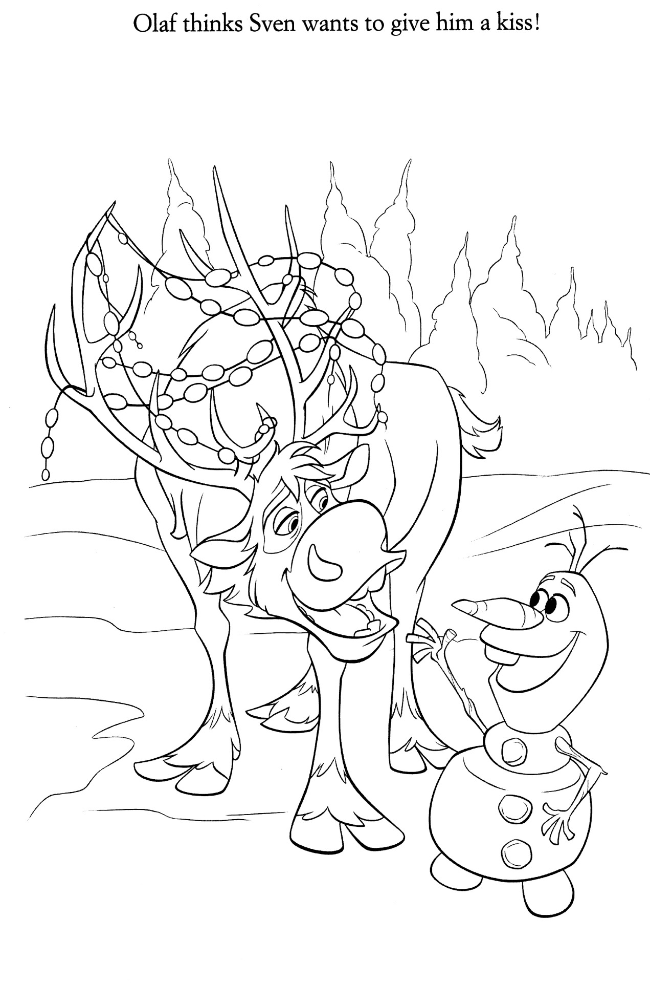 Frozen Coloring Pages Baby Sven And Kristoff Images Free Download