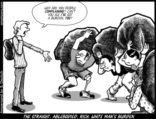 Image of a cartoon of different people who are from underrepresented groups being weighed down by burdens. An able-bodied white man is standing in front of them, saying
