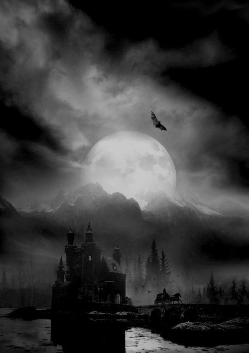 psychotic-southern-belle:</p> <p>Haunting picture.<br /> Should we continue on our<br /> way to this dark house or<br /> should turn around and run?<br /> Is that a bat flying toward us?<br /> The house-drawn carriage<br /> is leaving at a quick pace.<br /> I believe we should follow<br /> its example and run to the hills!</p> <p>