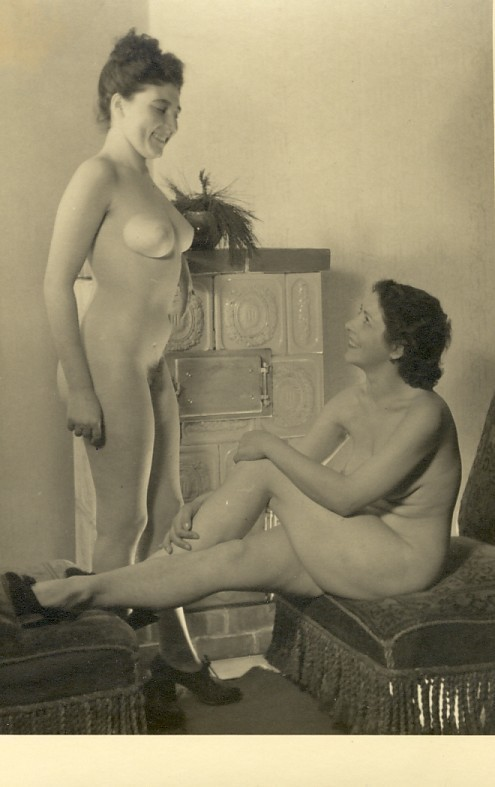 nofrillsretro:  Vintage Nude, 1960s, found and archived from ebay@suhl-1  Two very attractive nude ladies, vintage. Not 60s, at least to me. Looks older. My imagination says they're about to have lesbian sex for the first time.