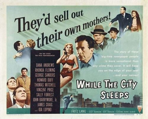 TCMParty schedule for the week of Oct. 14</p> <p>While the City Sleeps (1956)  THURSDAY, OCTOBER 17 @ 08:00 PM (ET)<br />      Reporters compete to catch a serial killer.