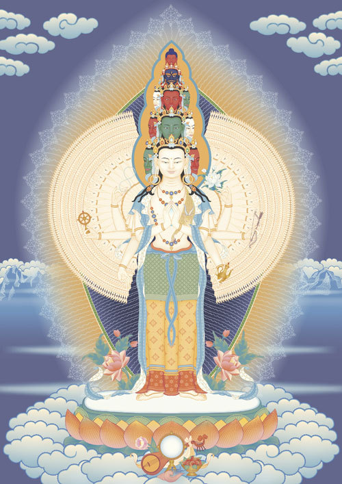 Today is Buddha's Enlightenment Day, a holiday where Kadampa Buddhists engage in the purification practice called Nyungne. Nyungne is a special fasting and purification practice in conjunction with Eleven-faced Avalokiteshvara. It is very powerful for purifying negative karma of body, speech, and mind, and for pacifying strong delusions such as desirous attachment and hatred. It is also a special method for receiving blessings and improving our experience of love, compassion, and bodhichitta.