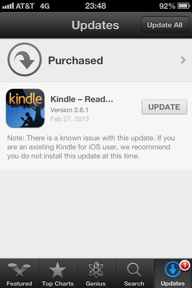 Kindle 3.6.1 - Do not install this update.