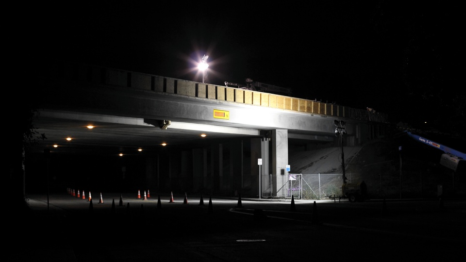 Construction on a Freeway at Night