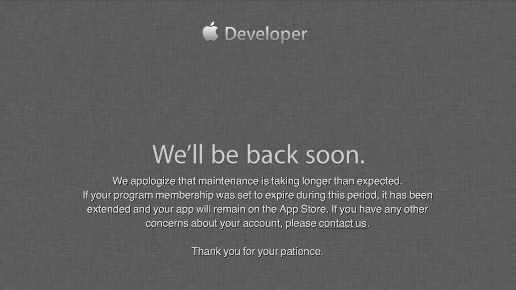 Apple Developer Maintenance 20130720