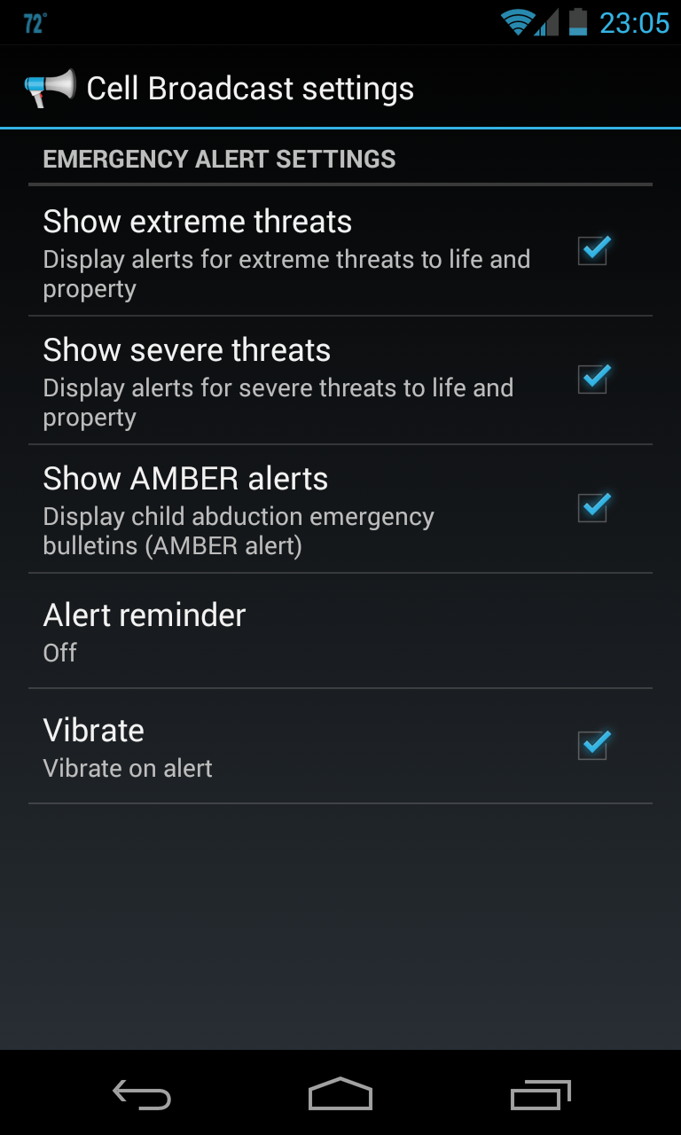 Android Cell Broadcast settings