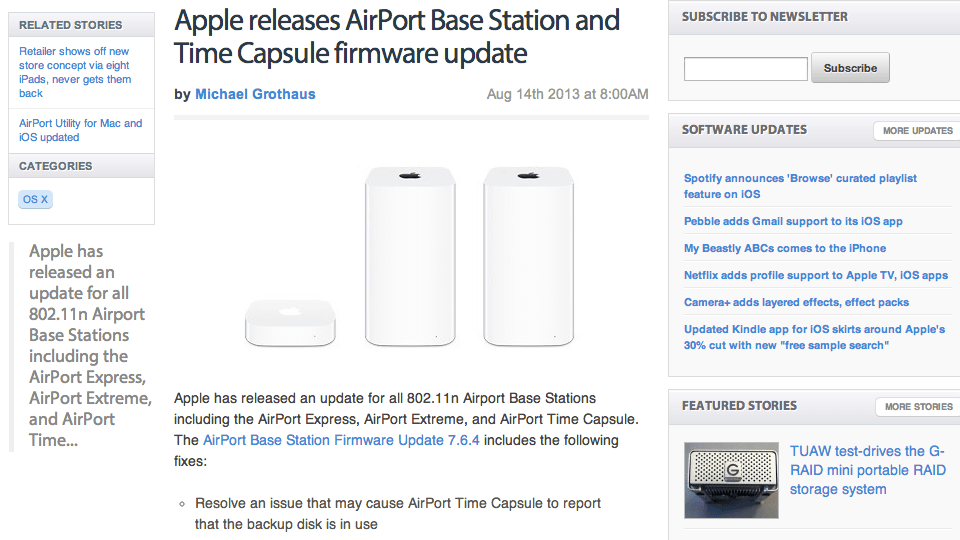 TUAW clueless about Apple AirPort Model