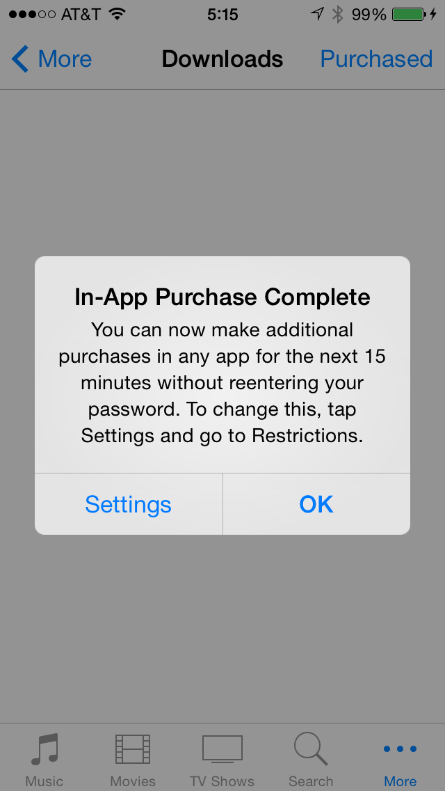 App Purchase 15 Minute Reminder