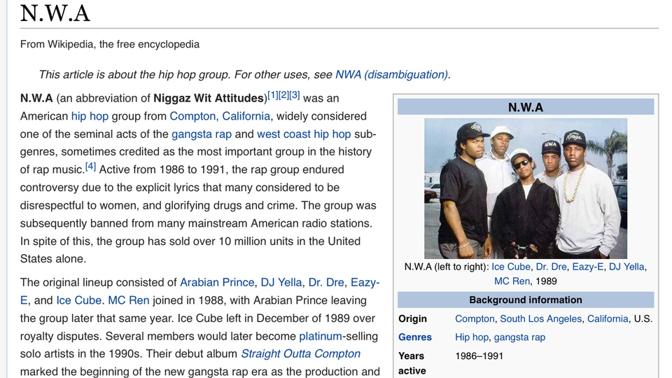 NWA at Wikipedia
