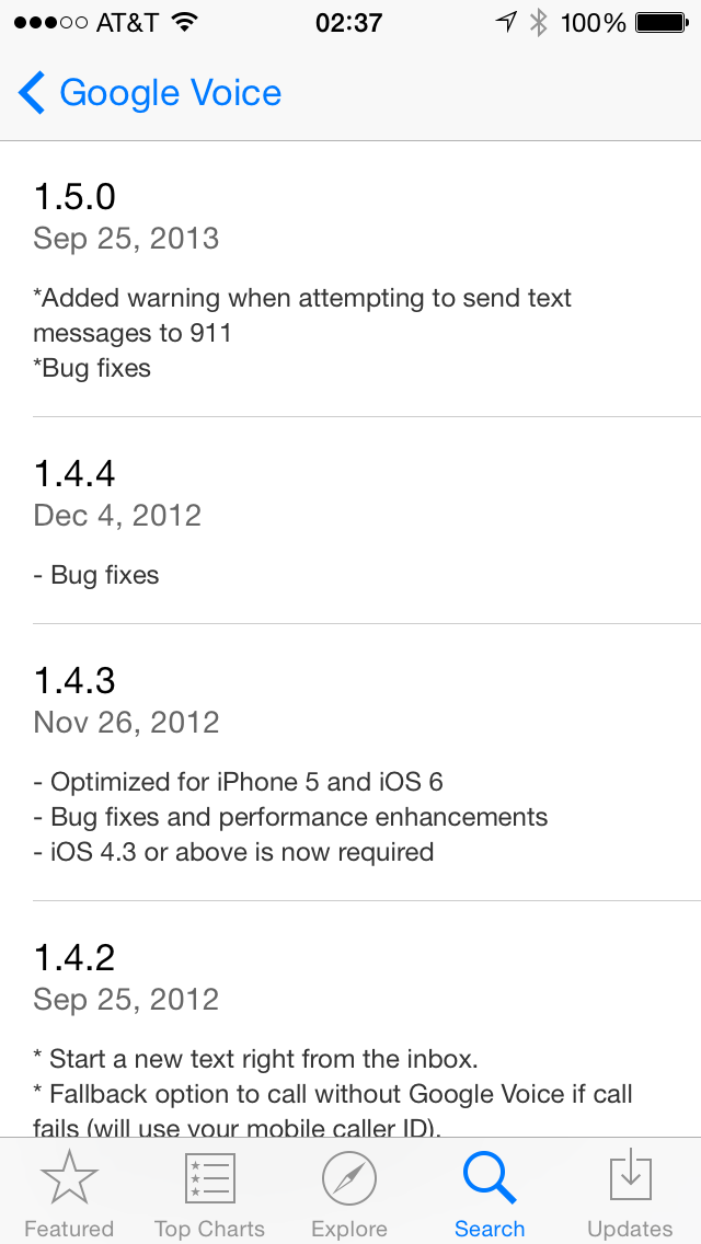 Google Voice iOS App Update History