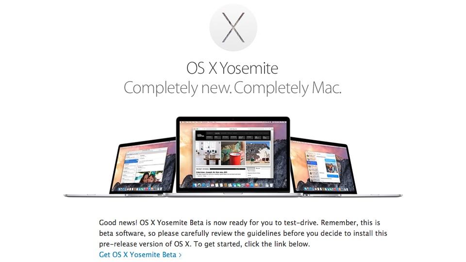 Get OS X Yosemite Beta