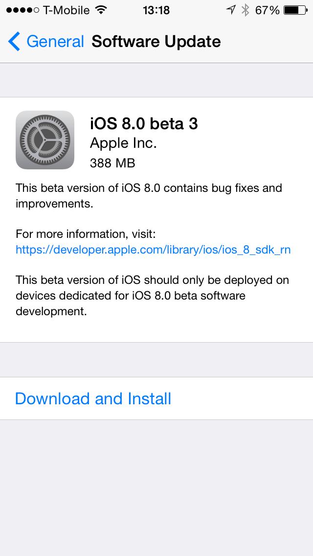 iOS 8.0 beta 3 Software Update