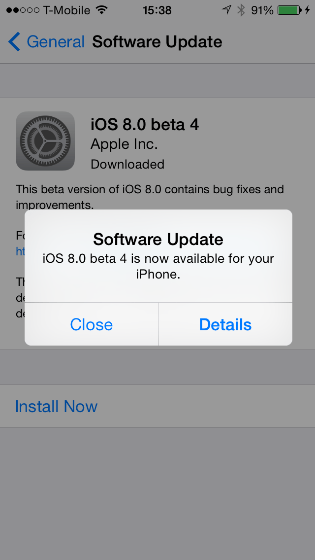 iOS 8.0 beta 4 Update on iPhone 5s