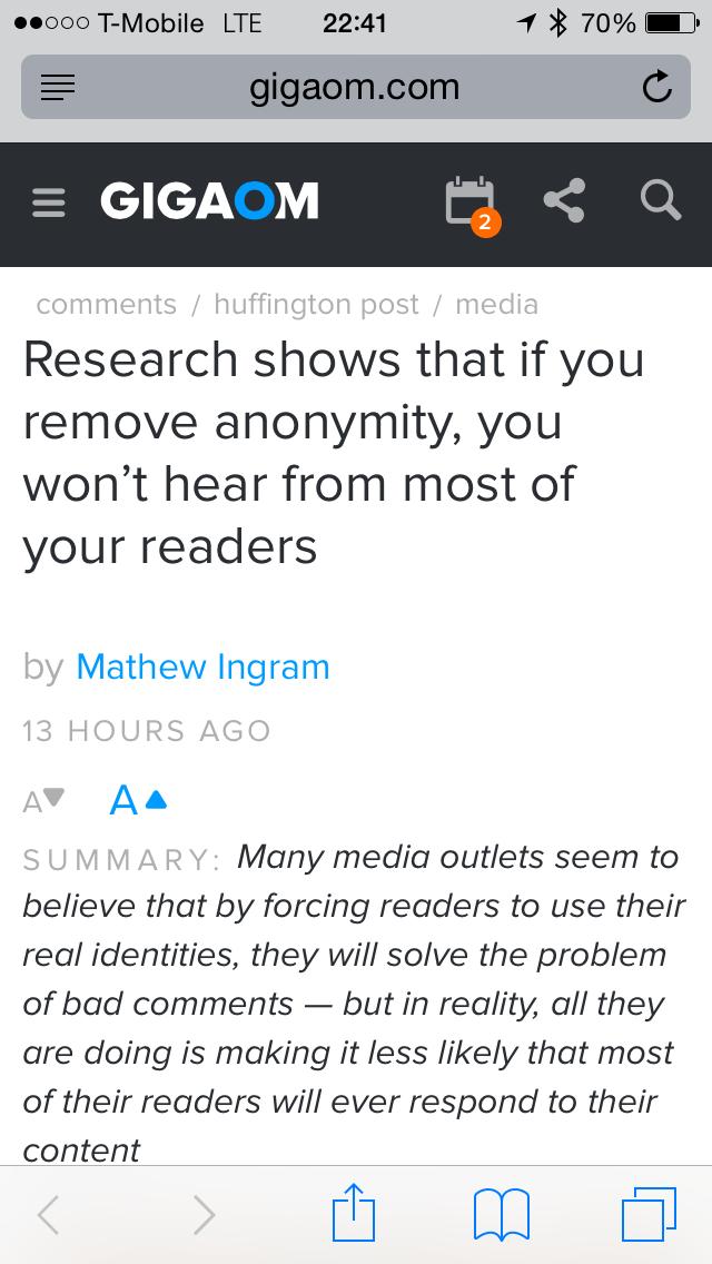GigaOM Headline on Anonymity