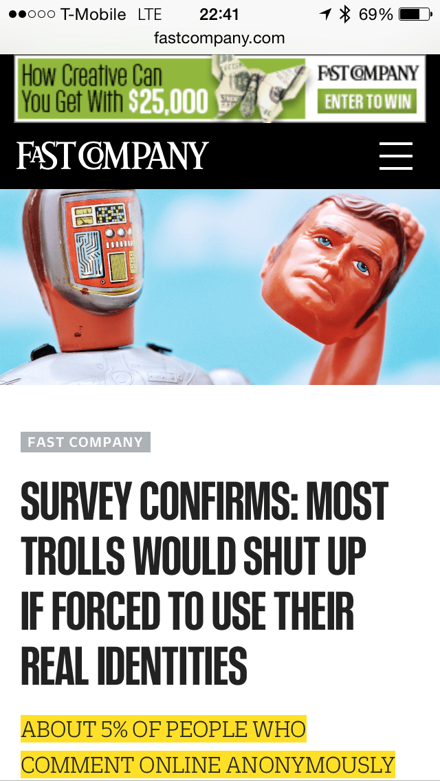 Fast Company Headline on Anonymity