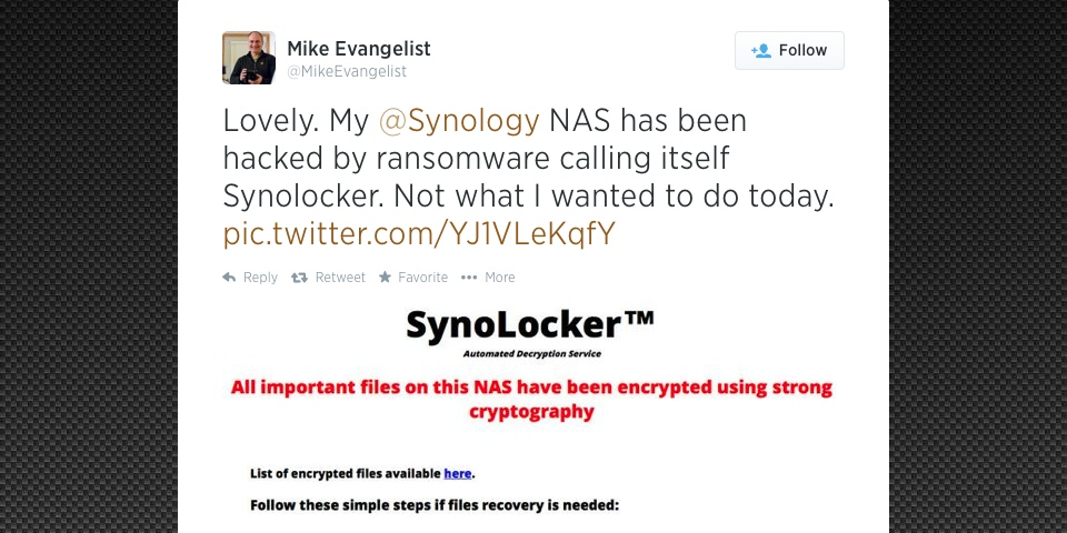 Mike Evangelist Tweet Synology Synolocker