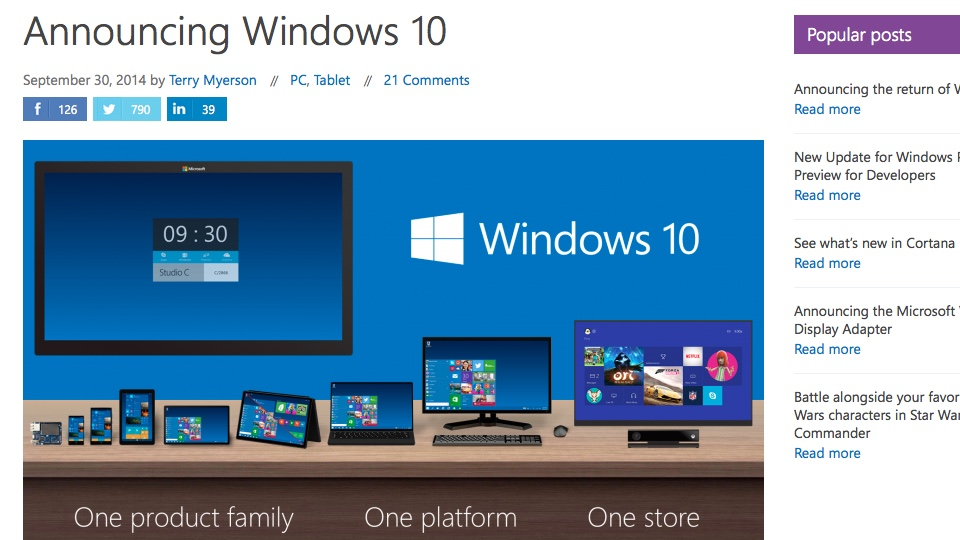 Announcing Windows 10