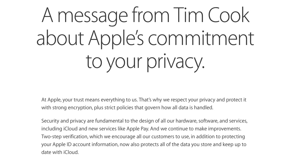 Apple Privacy Message from Tim Cook