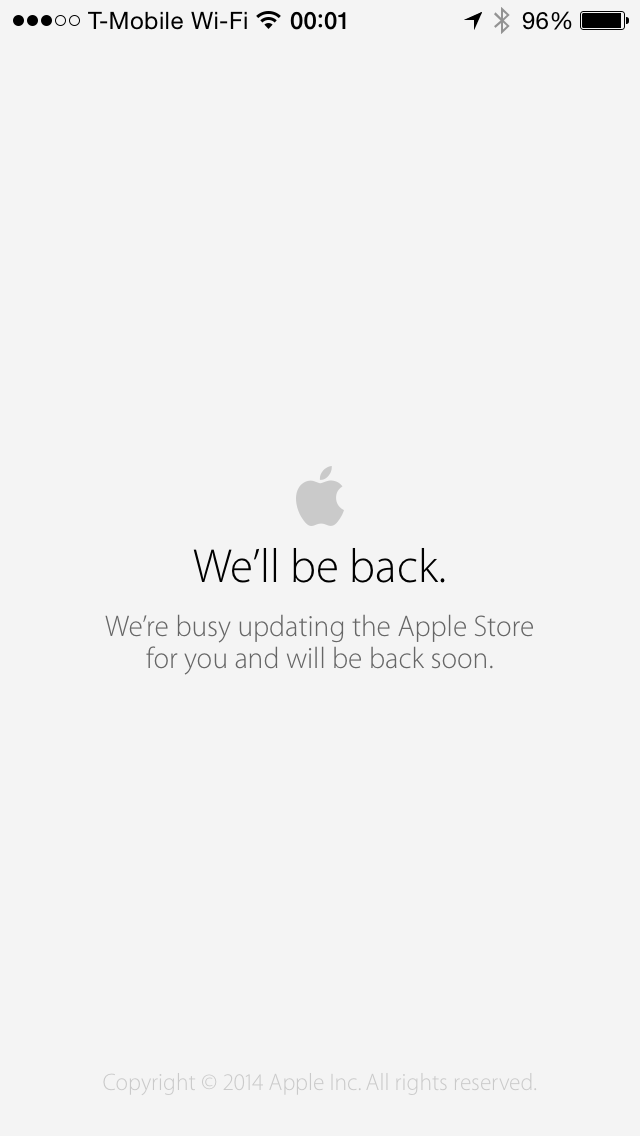Apple Store Online Maintenance Mode 2014-09-12