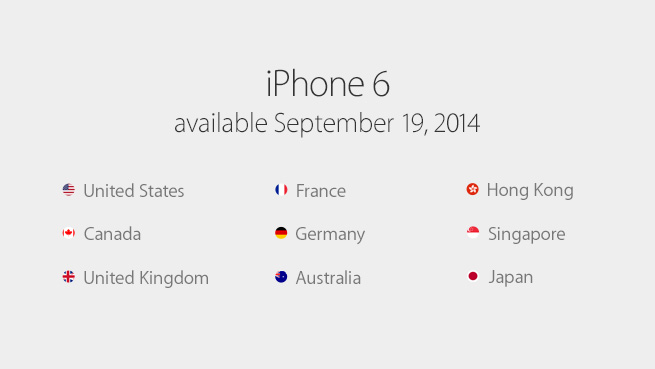 iPhone 6 and iPhone 6 Plus September 19