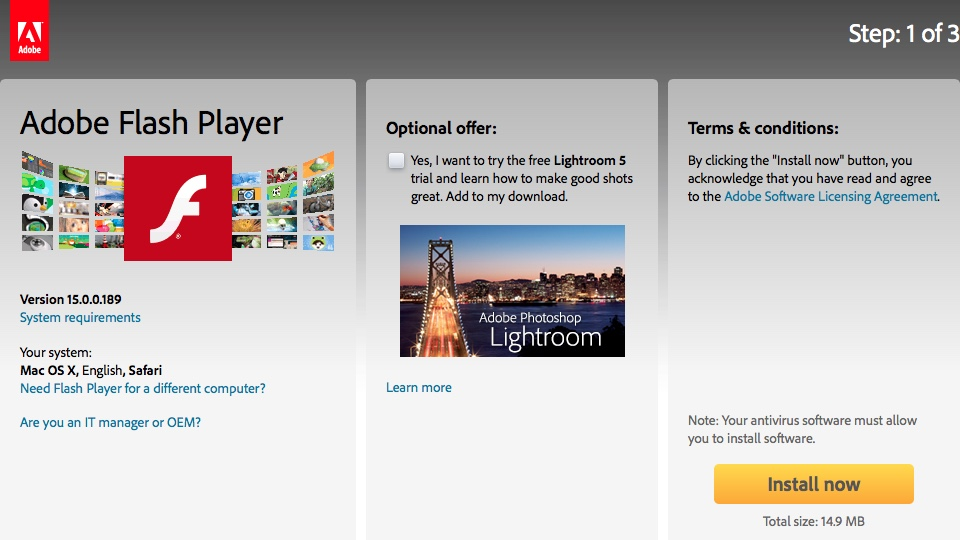 Adobe Flash Player Download Page
