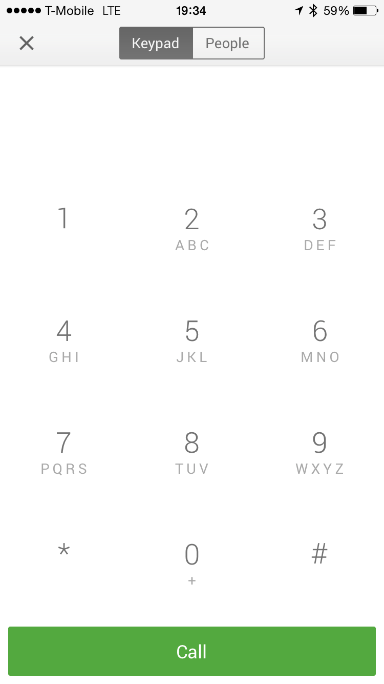 Google Hangouts 2.3.0 Dialer iPhone 6