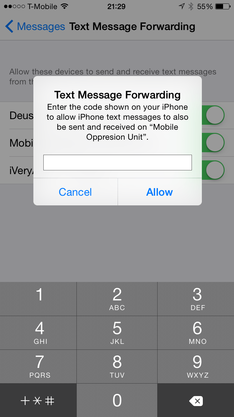 iOS 8.1: Text Message Forwarding