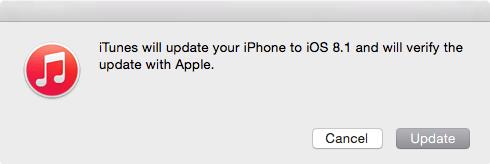 iOS 8.1 Update via iTunes